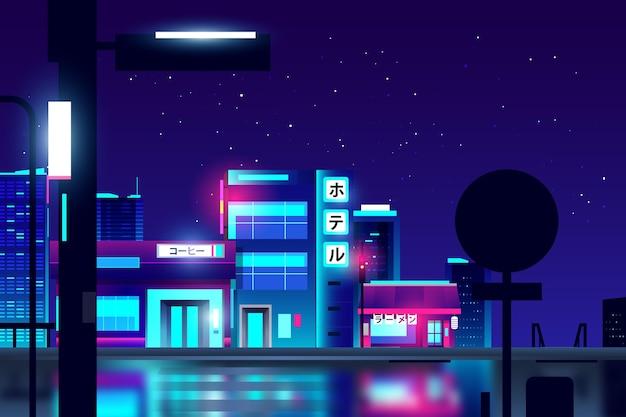 Rue japonaise dégradée avec néons