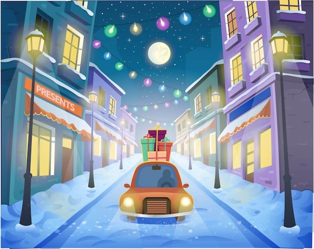 Rue de noël de la ville avec des lanternes et une guirlande avec une voiture et des cadeaux. illustration vectorielle en style cartoon.