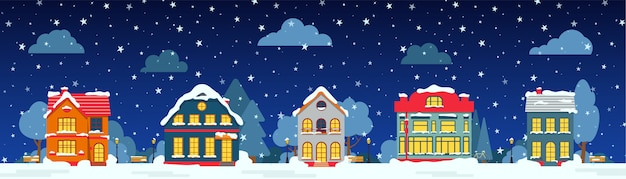 Rue de nuit d'hiver avec maison, arbres de neige, nuages de brousse, carte de dessin animé plat. joyeux noël et bonne année panoramique horizontal. paysage urbain