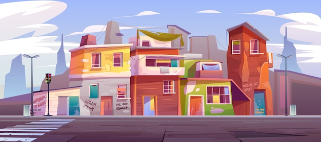 Rue vide du ghetto avec maisons abandonnées en ruine