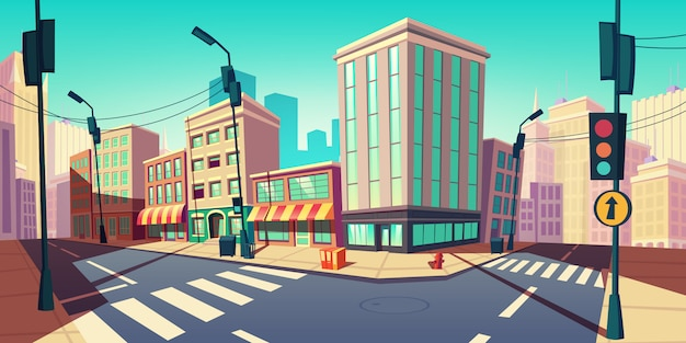 Rue vide avec illustration de dessin animé de route de transport