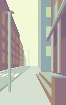 Rue vide de perspective de paysage urbain de grande ville avec l'architecture extérieure de gratte-ciel de bâtiments