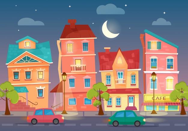 Rue de ville de dessin animé de vecteur pendant la nuit.