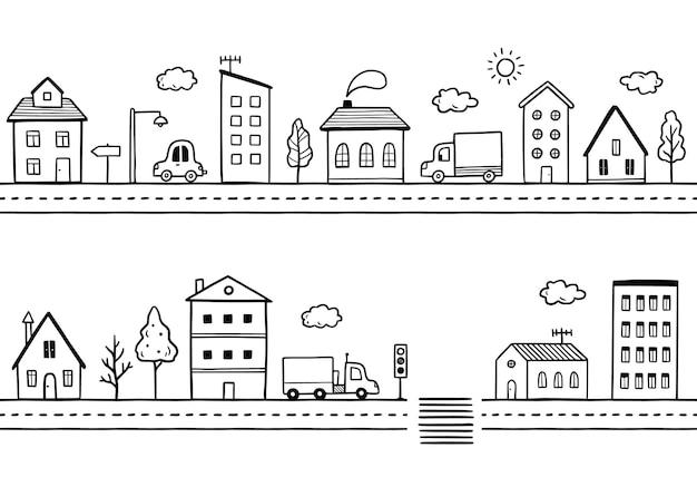 Rue de la ville de doodle avec maison
