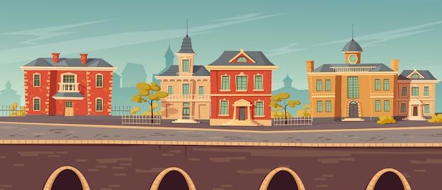 Rue de la ville du 19e siècle avec des bâtiments européens