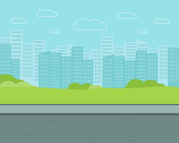 Rue de la ville avec des immeubles de grande hauteur. illustration vectorielle plane du parc.