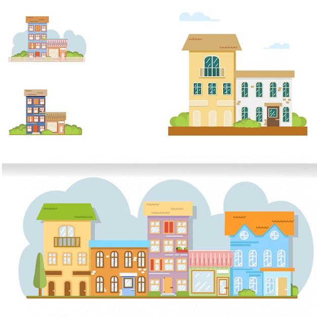 Rue de la ville plate bande dessinée style vector illustration