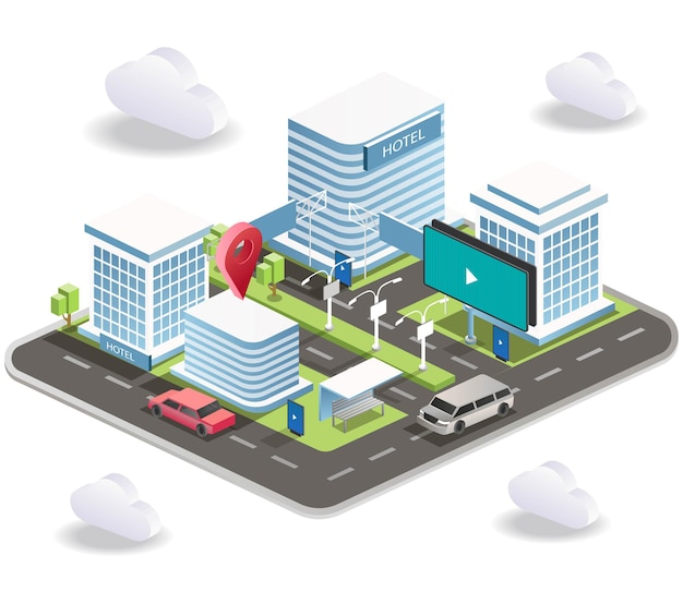 Rues de la ville avec signalisation et voitures