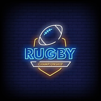 Rugby championship neon signs style texte