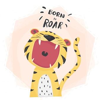Rugissant bouche ouverte de tigre mignon