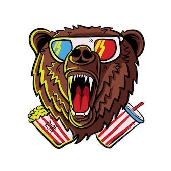 Rugissant ours portant des lunettes avec pop corn