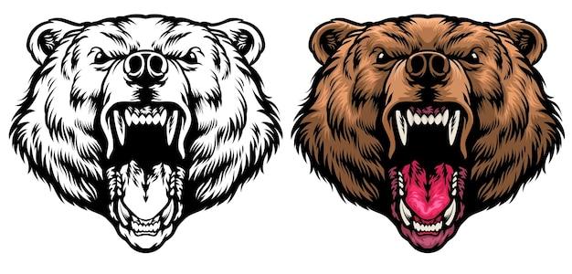Rugissement de tête de grizzly en colère