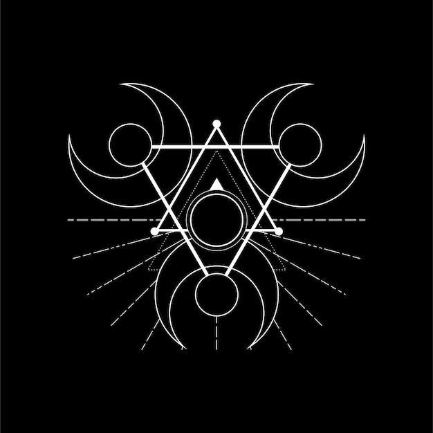 Rune magique de lune de triangle
