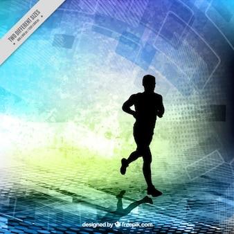 Runner silhouette sur un fond abstrait formes