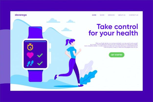 Running girl avec smart watch landing page modèle de soins de santé