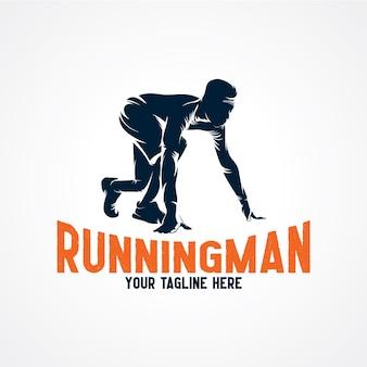 Running man logo vectoriel, vecteur de silhouette premium