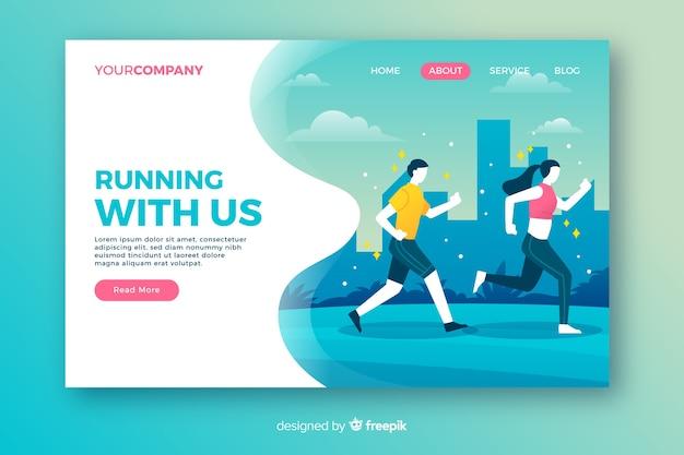 Running page d'atterrissage en design plat