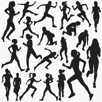 Running woman silhouettes