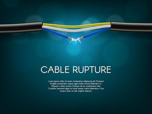 Rupture de câble électrique, court-circuit dans la bannière de la ligne électrique