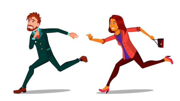Rush running caractères jeune homme et femme