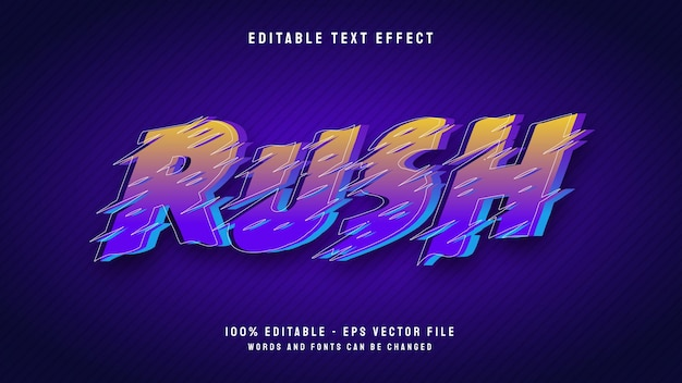 Rush style de dessin animé 3d avec modèle d'effet de texte modifiable de contour