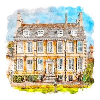 Rutland angleterre aquarelle croquis dessinés à la main illustration