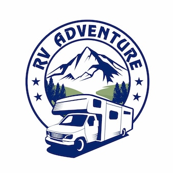 Rv van adventure, van vacation, logo de vacances, logo de rv