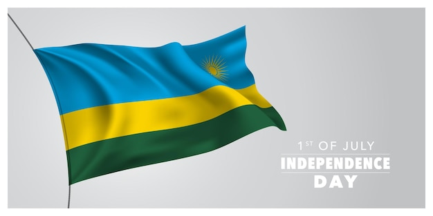 Rwanda joyeux jour de l'indépendance bannière de carte de voeux illustration vectorielle horizontale maison de vacances rwandaise