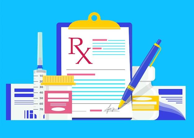 Rx prescription médicale avec bouteilles thérapie pilules seringue médicaments anti-douleur rx forme de recette moderne