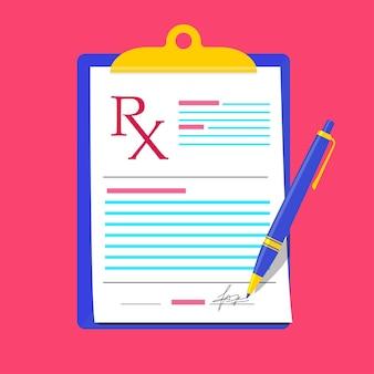 Rx prescription médicale concept vierge médecin écrit signature formulaire de recette rx moderne