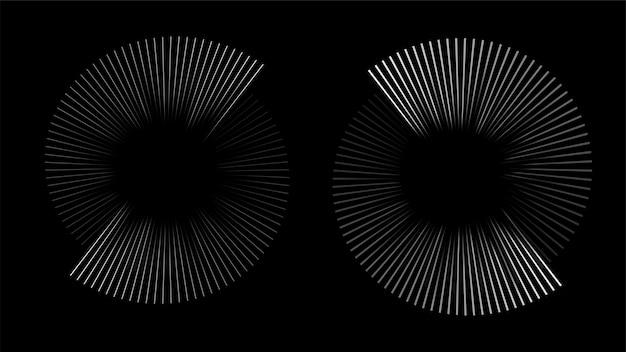 Rythme d'onde sonore en spirale circulaire à partir de lignes.
