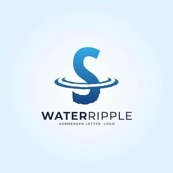 S bleu dégradé lettre eau ondulation splash vague logo dynamique icône vecteur illustration