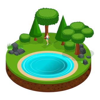 S camping, fille marche, marche scandinave à travers les bois à l'extérieur, nature, lac, forêt, montagnes, arbres
