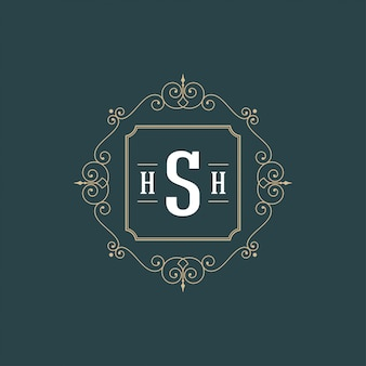 S'épanouit cadre d'ornement contour luxe logo calligraphique monogramme modèle luxe