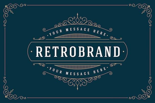 S'épanouit emblème calligraphique modèle luxe cadre élégant ornement ligne logo