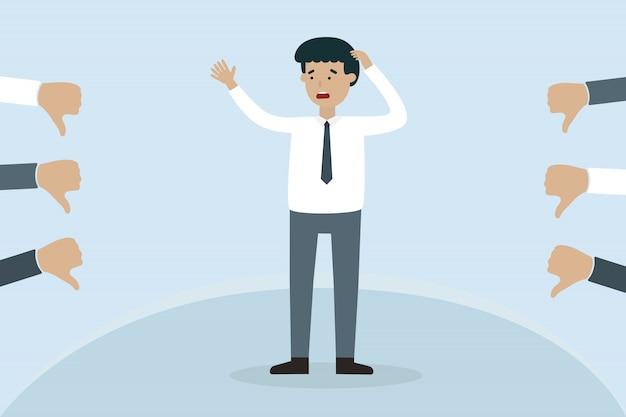 S'inquiéter homme d'affaires avec aversion main
