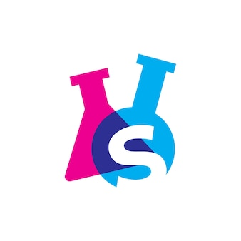 S lettre laboratoire verrerie bécher logo vector illustration icône