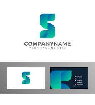 S lettre logo géométrique plié blockchain bitcoin vecteur avec carte de visite