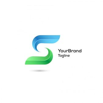 S moderne avec le modèle de logo de couleur bleu et vert