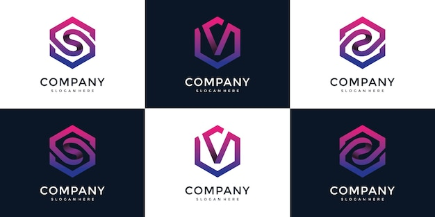 S, V, Z Moderne Avec Modèle De Conception De Logo Hexagonal Vecteur Premium