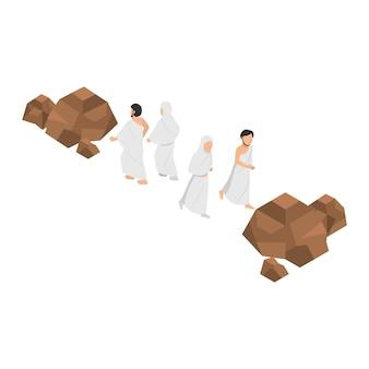 Sa'i sens: rituel de promenade entre les deux petites collines de safa et de marwah