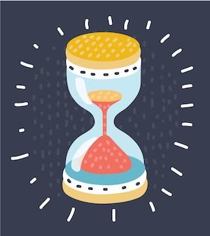 Sable qui traverse les ampoules d'un sablier mesurant le temps qui passe dans un compte à rebours jusqu'à une date limite, sur fond sombre avec espace copie.