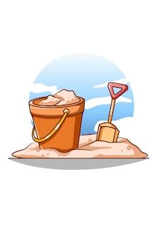 Sable et seau sur la plage en illustration de dessin animé d'été