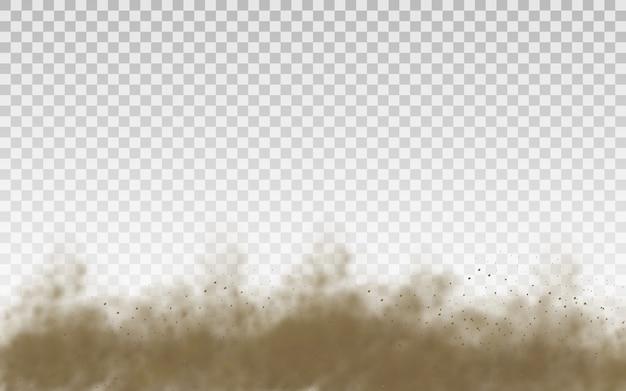 Sable volant. nuage de poussière. nuage poussiéreux brun ou sable sec volant avec une rafale de vent, tempête de sable. texture réaliste de fumée brune