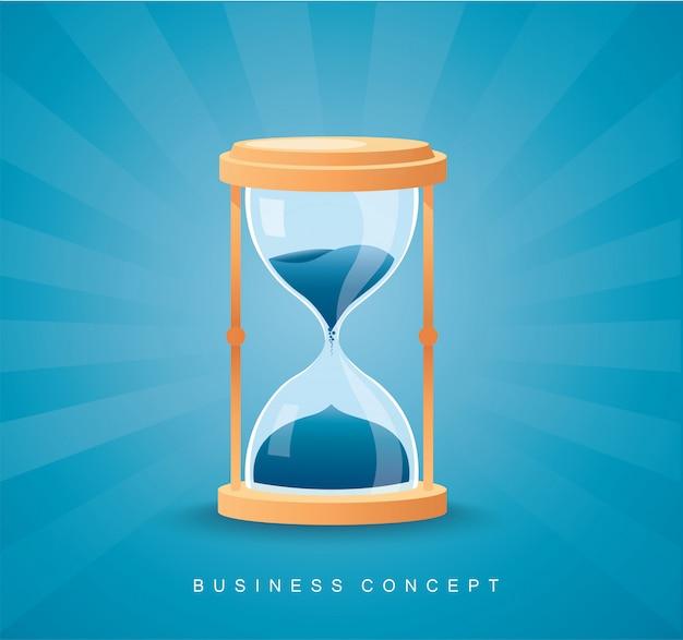 Sablier comme concept de temps qui passe pour la date limite de l'entreprise