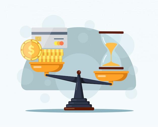 Sablier de compte à rebours, carte de débit et argent sur des balances. time is money concept