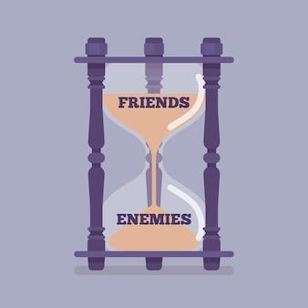 Le sablier mesure le passage des amis aux ennemis. instrument, métaphore montrant le changement de goût, la confiance dans une relation hostile, inamicale et opposée entre les gens. illustration vectorielle