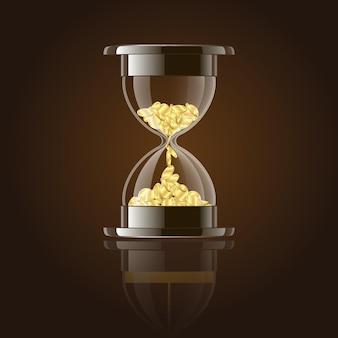 Sablier avec des pièces d'or sur fond sombre. illustration vectorielle