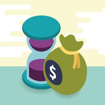 Sablier et sac d'argent isométrique