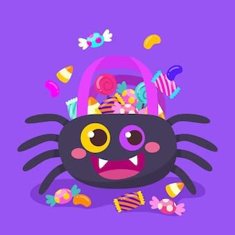 Sac araignée halloween dessiné à la main